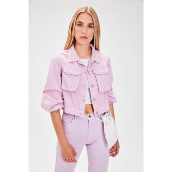 Pink Balloon Sleeve Denim Jacket TWOAW20CE0039