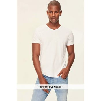 White Print Men's Cotton V-Neck T-Shirt TMNSS19BO0002