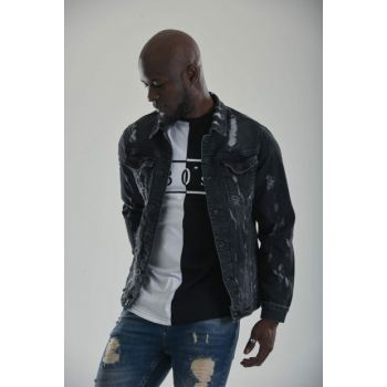 Ripped Men's Denim Jacket Slim Fit - 16vqv4sej