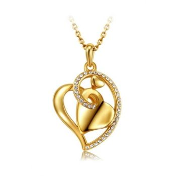 Trendy Gold Color Heart Necklace Austria Crystal Heart myfvr3342