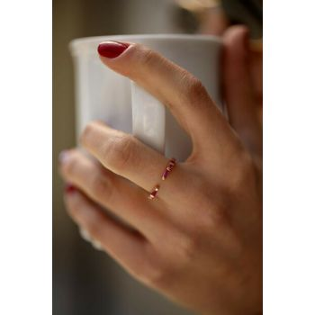 Women's Ruby Rose Sterling Silver Minimal Ring İZLASLVR00050