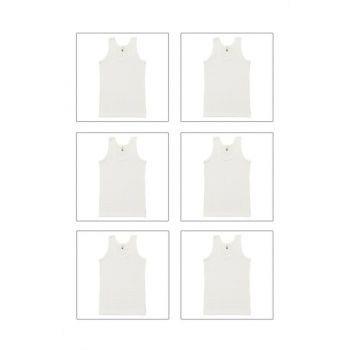 Boys' White 6-Piece Ribana Tank Top 0801-P06 0801-p06