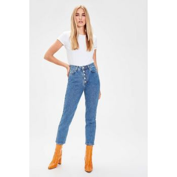 Indigo Front Button High Waist Mom Jeans TWOAW20JE0050