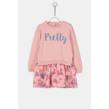 Baby Girl Pink Melange E6R Dress 9W6691Z1