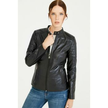 Bianca Black Leather Coat (Women) BD00209