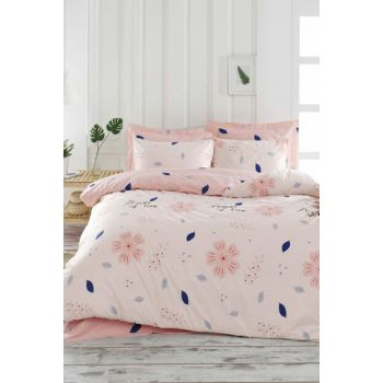 100% Natural Cotton Double Duvet Cover Set FlowerOfLove Powder Ep-018923