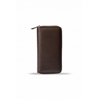 Men's Zippered Large Leather Card Wallet Brown 3016