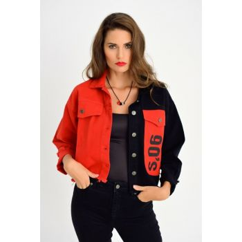 Women's Red-Black Two Colors Printed Denim Jacket IS2118