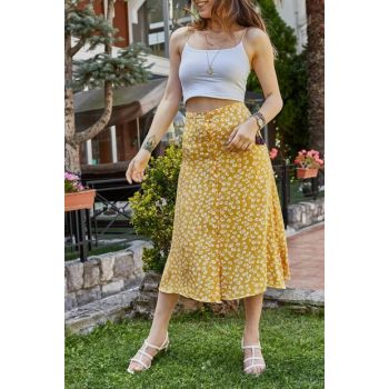 Women's Yellow Floral Patterned Buttoned Skirt 9YXK6-41461-10