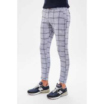 Indigo Men's Check Pants Slim Fit Trousers TMNAW20PL0104