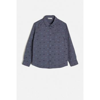 Navy Blue Kids Pocket Detail Shirt 0KKB66335TW