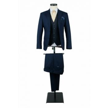 Men's Suits Navy Blue Suit Combined Vest Slim Fit 6 Drop 19-0073 2301S6910073