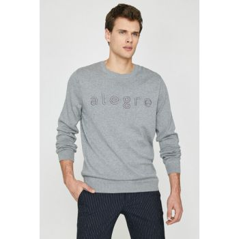 Men's Gray Printed Pullover 9KAM91333LT