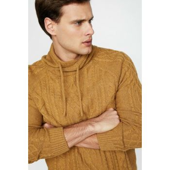 Men's Coffee High Collar Sweater 9KAM91308LT