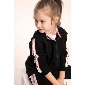 Black Teenage Girl Hooded Sleeves Striped Zippered Sweatshirt K3139A6.19SP.BK27