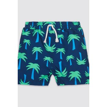 Navy Blue Baby Boy Patterned Shorts Swimwear T78004311S