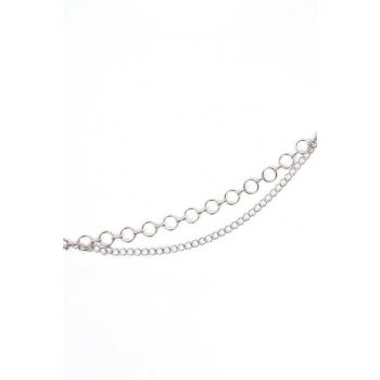 Women's Silver Ring Detailed Chain Belt Zncr06 ADX-0000019339