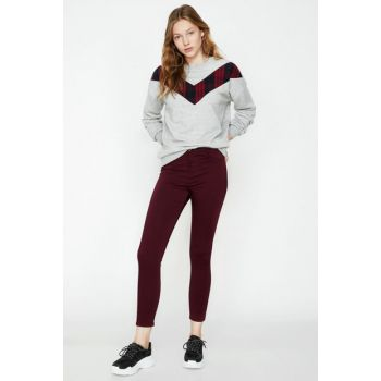 Women's Burgundy Slim Fit Trousers 9KAK43675MW