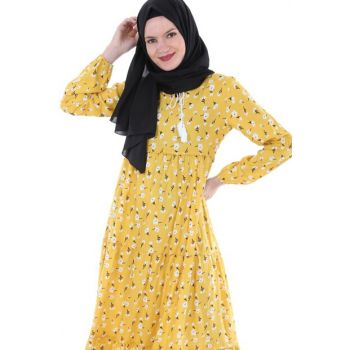 Women's Floral Yellow Neckline Lace Hijab Dress 1627BGD19_269