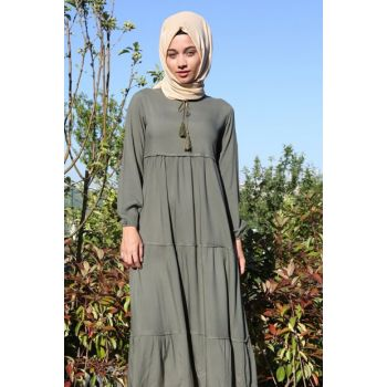 Women's Dark Khaki Collar Lace Hijab Dress 1627BGD19_080