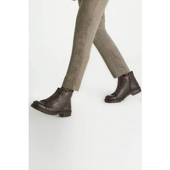 Genuine Leather Coffee Men Boots 02BOH111310A480 02BOH111310