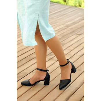 Genuine Leather Black Women Heels Shoes A1160-19
