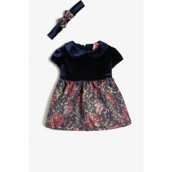 Navy Blue Baby Girl Patterned Dress 0KMG89937ZW