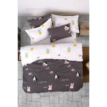 100% Natural Cotton Double Duvet Cover Set Papcik Anthracite Ep-019379