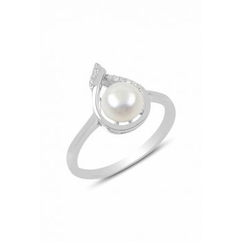 Women's Silver Pearl And Zircon Stone Drop Model Ring SGTL9786