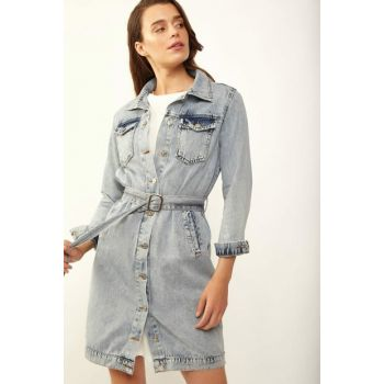 Women's Blue Denim Long Jeans Jacket 10227BGD19_008