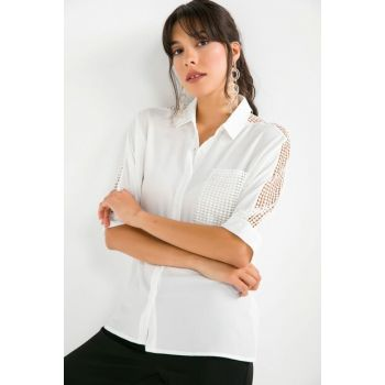 Women's Pocket And Sleeve Guipure Detailed Crepe Shirt Ecru S-19Y3650001