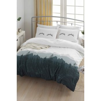 100% Natural Cotton Double Duvet Cover Set Eyelash White Ep-018847