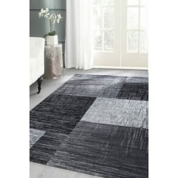 Modern patterned carpet checkered and interlaced design Black Gray White PLUS8001BLACK