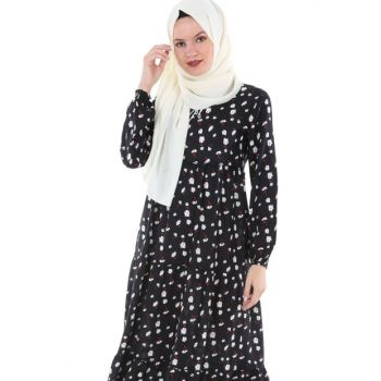 Women's Floral White Collar Lace Hijab Dress 1627BGD19_301