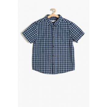 Navy Blue Plaid Shirt Boy 7YKB66660TW