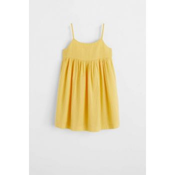 Mustard Color Girl Dress with Ruffle Detail 53050749