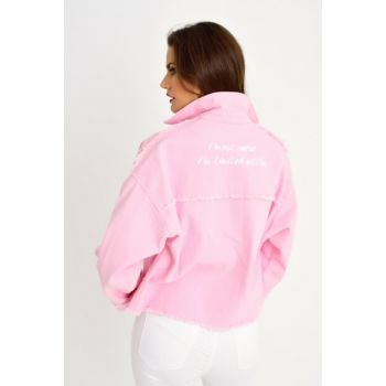 Women's Pink Back Printed Denim Jacket With Pocket IS2115