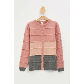 Pink Girl Kid Color Blocked Button Cardigan K9535A6.19AU.PN111