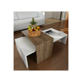 Oberon Coffee Table White - Walnut 8681506222718