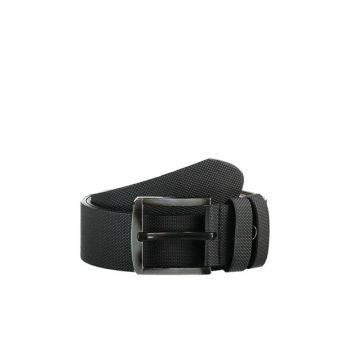 Black Men's Textured Artificial Leather Belt TMNAW20KE0007