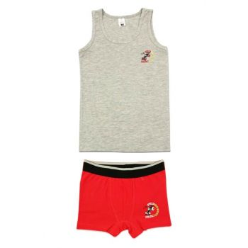 Boy Gray Red Underwear Suit 31421