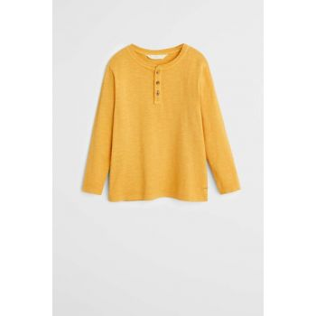 Mustard Color Boy Organic Cotton Buttoned T-Shirt 53000821