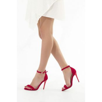 Red Suede Women High Heels Shoes 12532