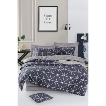 100% Natural Cotton Double Duvet Cover Set Gina Anthracite Ep-018942