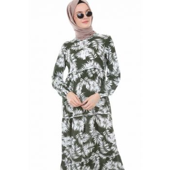 Women's Printed Khaki Collar Lace Hijab Dress 1627BGD19_225