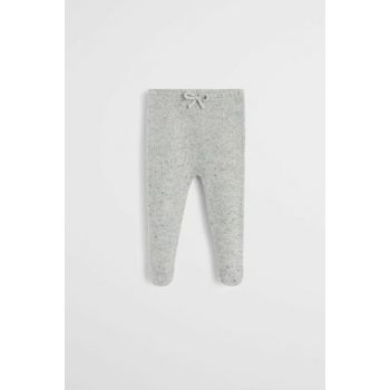 Medium Flecked Gray Baby Footed Knit Trousers 53045712
