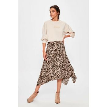 Brown Leopard Patterned Asymmetrical Knitted Skirt TWOAW20ET0440