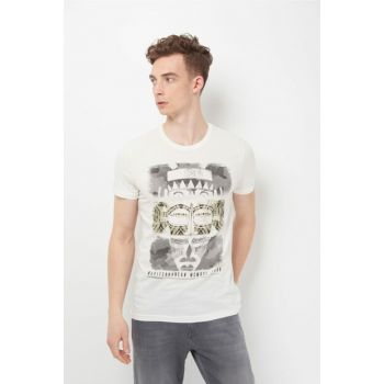 Men's terranean Printed White T-Shirt 065482-28289