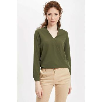 Women's Khaki V Neck Blouse K9243AZ.18CW.KH267