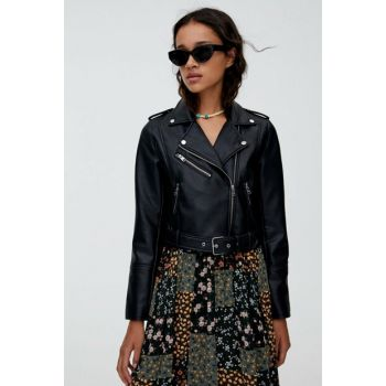 Women Black Leather Looking Biker Jacket 05710323